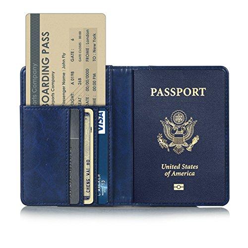 Kepuch Custer Funda para Pasaporte Passport,Slim Smart Cover Fundas Carcasa Case Protectora de PU-Cuero para Pasaporte Passport - Azul
