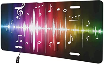 Beabes Music Notes Front License Plate Cover,Radio Wave Abstract Art Modern Design Decorative License Plates for Car,Aluminum Novelty Auto Car Tag Vanity Plates Gift for Men Women 6x12 Inch