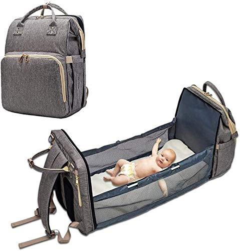 SADWF Baby Crib Bed Backpack, Foldable Multi Function Portable Diaper Nappy Changing snd Waterproof Travel Cot Bag for Infant (Color : Gray)