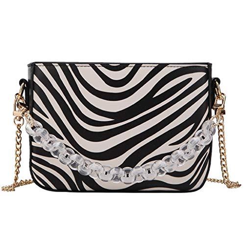 OIKAY Damen Umhängetasche Abendtasche Modische Handtasche Mode Hasp Pearl Serpentine Chains Zebramuster Schultertasche Reißverschluss Casual Bag