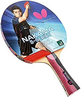 Butterfly Nakama S-5 Table Tennis Racket – ITTF Approved Ping Pong Paddle – Carbon Ping Pong Paddle – Table Tennis Rubber and Thick Sponge Layer Ping Pong Racket – 2 Ping Pong Balls Included