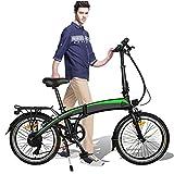 Bicicleta Eléctrica Plegable, 350W 36V 10AH/7.5AH Velocidad máxima 25 km/h 3 Modos de conducción,Resistencia 50-55 kilómetros, Asiento Ajustable, con Pedales,Bici Electricas Adulto,