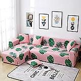 WXQY Funda de sofá elástica con Estampado de Plumas de Color, Funda de sofá Antideslizante de Esquina en Forma de L Funda de sofá A4 2 plazas