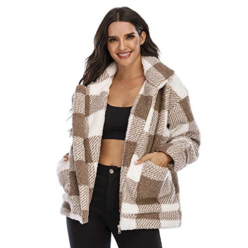 Women Plaid Faux Fleece Coat Lapel Artificial Shearling Long Sleeve Jacket Casual Fuzzy Overcoat (Camel,M)