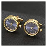 YTNGYTNG Gemelos Relojes de Lujo for Hombres Gemelos Classic French Business Shirts Acesorios Reloj Rotation Reloj Gold Gold Golfs Link Aniversario Regalos (Metal Color : Blue)