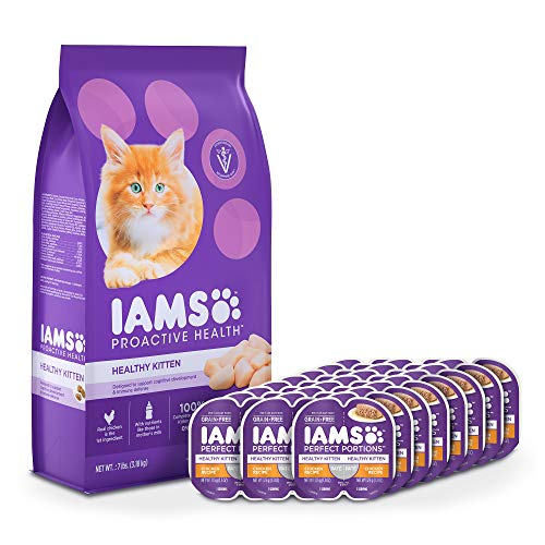 IAMS Proactive Health Healthy Kitten Dry Cat Food and Grain Free Paté Wet Cat Food, Chicken Recipes