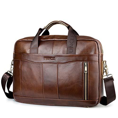 SPAHER Unisex Mens Women Briefcase Genuine Leather Shoulder Bag Laptop Handbag Messenger Computer Case Business Sling Crossbody Satchel School Rucksack 15 Inches Laptop Bag (Brown 001)