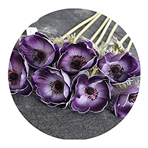 Real Touch Artificial Anemone Flowers Silk Flores Artificiales for Wedding Holding Fake Flowers Home Garden Decorative Wreath,Purple
