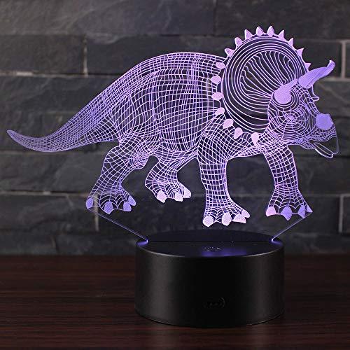 3D Illusion Nuit Lumière Win-Y LED Bureau Table Lampe 7 Couleur Tactile Lampe Maison Chambre Bureau Décor pour Enfants D'anniversaire De Noël Cadeau (Dinosaure T1)