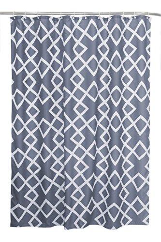 Haus & Deko Textil Duschvorhang (PE-Lining) ca. 180x200 cm Ösen Vorhang wasserfest inkl. 12 Ringe Latex Beschwerungsband - Design Zickzack