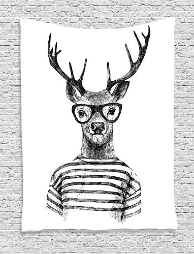 Ambesonne Deer Decor Collection, Dressed Up Deer Reindeer Headed Human Hipster Style with Glasses Striped Shirt Design, Bedroom Living Room Dorm Wall Hanging Tapestry, Black White