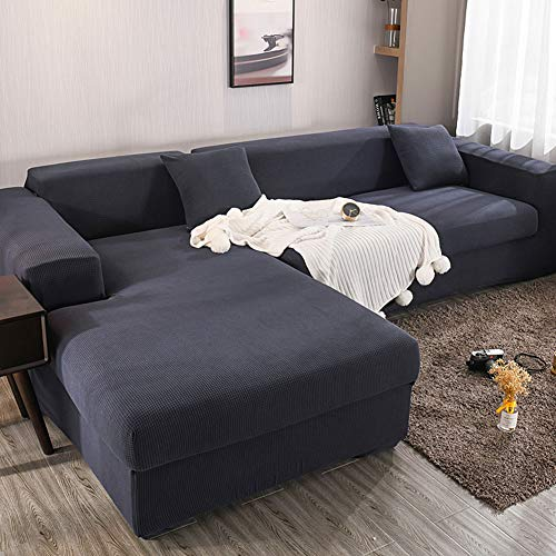 Anoauit Sofa Schonbezug Elastische Sofabezug-Sets L-Form Stretch Möbelbezug Pet Dog Schnitt- / Couchbezüge (L-Typ-Sofa muss Zwei Sofabezüge kaufen),Navy Blue,2 Seater