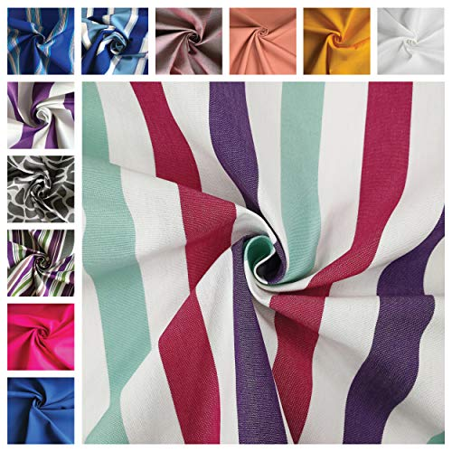 Panini Fabrics, Outdoor Fabric Sold by Half Metre, 1 qt=50 cm;2 qt=100 cm; Ideal for Outdoor Covers, Armchairs, Sofas, Chairs, Cushions, Tablecloths, Deckchairs, Loungers Caicos Viola
