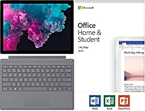 """Newest Microsoft Surface Pro 6 12.3"""" (2736x1824) 10-Point Touch Display Tablet PC w/Type Cover (Platinum) & Office 2019, Intel Quad Core i5-8250U Upto 3.4GHz, 8GB RAM, 256GB SSD, Windows 10, Black"""