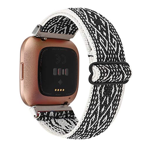 Adjustable Elastic Watch Band Compatible with Fitbit Versa/Versa 2/Versa Lite for Women Girls Stretch Boho Sport Watch Strap Bracelet Wristband for Fitbit Versa Smart Watch (Black White Rhombus)