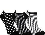 ch-home-design 3 Paar Damen & Teenager Sneaker Socken RS 15372 (35-38, Schwarz: Streifen-Uni-Punkte)