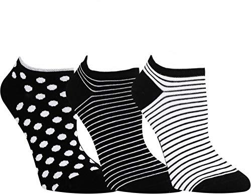 ch-home-design 3 Paar Damen & Teenager Sneaker Socken RS 15372 (39-42, Schwarz: Streifen-Uni-Punkte)