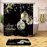 N / A Frohe Weihnachten Badezimmer Vorhang Home Santa Duschvorhang Sleepy Snowman Wasserdicht Badezimmer Home Wasserdicht Mehltau Duschvorhang A15 150x180cm