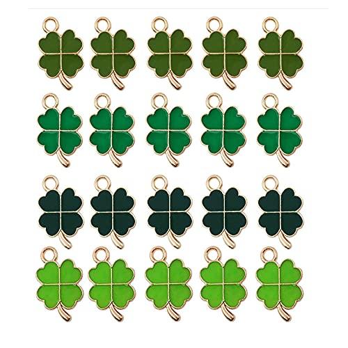 Chytaii - Set di 48 ciondoli a quadrifoglio, con 4 foglie, colore: verde