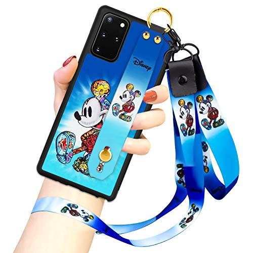 DISNEY COLLECTION Samsung Galaxy S20 Plus 5G Case, Mickey Mouse Street Fashion Wrist Strap Band Protector Phone Cover Full-Body Bumper Lanyard Case for Galaxy S20+ Plus 5G 6.7 Inch 2020