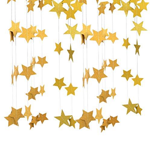 YANSHON Stelle Ghirlanda di Carta Stelline Dorato 52 Piedi Stelle Bandierine e Ghirlande Stelline Decorazione da Appendere per Matrimonio Compleanno Natale Festival Festa, 5cm / 7cm Dorato