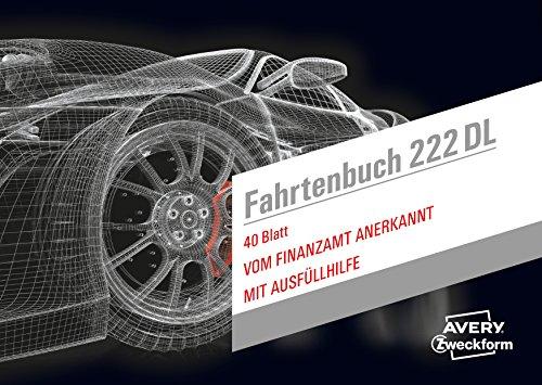 AVERY Zweckform 222DL Design Fahrtenbuch für PKW (A6 quer, 80 Seiten insgesamt 390 Fahrten, für Deutschland und Österreich zur Abgrenzung privater/geschäftlicher Fahrten) 1 Stück