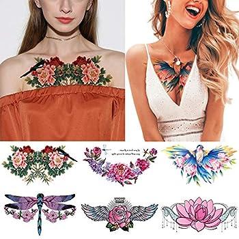 "glaryyears 6 Sheets Colorful Underboob Tattoo for Women Flower Bird Dragonfly Designs Temporary Tattoo Stickers on Chest Waist Waterproof Body Art 5.4  x9.45"""