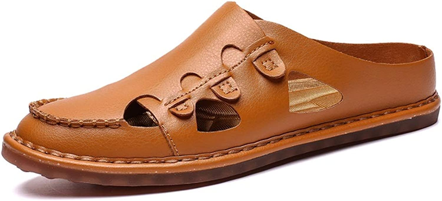 XIANGBAO-Personality Summer Perforated Breathable Fashion Casual Sandals for Men PU Leather Flabby Lightweight Slipper Anti-Slip Flat Quick-Drying Slip-on Round Fold Toe