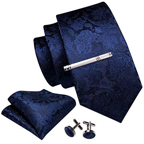 Barry.Wang Herren-Krawatten-Set mit quadratischen Manschettenknöpfen und Krawattenklammern, für Hochzeiten und Weihnachten Gr. One size, tiefschwarz
