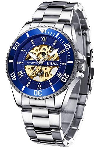Relojes mecánicos automáticos automáticos de acero inoxidable con mecanismo de cuerda automática, de lujo, resistente al agua, esfera de diamante, relojes de pulsera para hombres