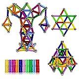 Jokooan Construcciones Magneticas Niños 144 piezas, Set di Bastones Magnéticas y Bolas de Acero Inoxidable Bloques Magneticos Juego Educativo para niños (color aleatorio)