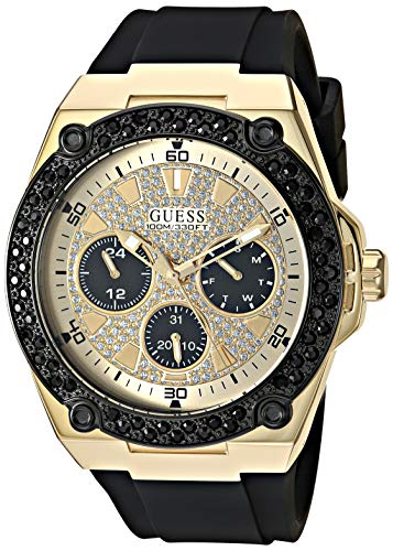 GUESS Black Gold-Tone Glitz Stain Resistant Silicone Watch with Day, Date + 24 Hour Military/Int'l Time. Color: Black (Model: U1257G1)