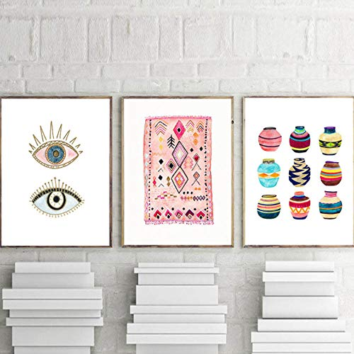 Terilizi Marokkaans tapijtkunst schilderij boho muurschilderijen ogen stam geweven mand aquarel canvas kunstdruk Home Bohemia poster wanddecoratie - 40x60cmx3 niet ingelijst
