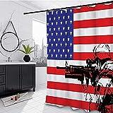 lovedomi The Monogram with The American Flag as The Theme of The American Soldier with M16 Rifle cortina de ducha de tela de poliéster impermeable, 183 x 183 cm Set de accesorios de baño