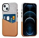 Haobobro Funda compatible con iPhone 13 - Revestimiento de piel sintética con soporte para tarjetas - Contiene hasta dos tarjetas - Marrón Funda de tela para 6,1 pulgadas New iPhone 13