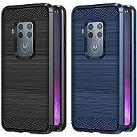 VGUARD 2 Unidades Funda para Motorola Moto One Zoom/Motorola Moto One Pro, Diseño de Fibra de Carbon Ultra Fina TPU Silicona Carcasa Fundas Protectora con Shock- Absorción (Negro+Azul)