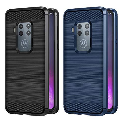 VGUARD 2 Stücke Hülle für Motorola Moto One Zoom/One Pro, Carbon Faser Case Tasche Schutzhülle mit Stoßdämpfung Soft Flex TPU Silikon Handyhülle für Motorola Moto One Pro/One Zoom (Schwarz+Blau)