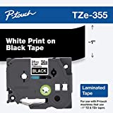 Brother Genuine P-touch TZE-355 Tape, 1' (0.94') Wide Standard Laminated Tape, White on Black, Laminated for Indoor or Outdoor Use, Water-Resistant, 0.94' x 26.2' (24mm x 8M), Single-Pack, TZE355