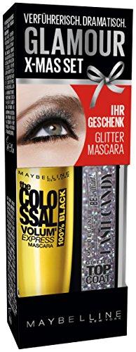 Maybelline New York Augen Make-Up Set Mascara The Colossal Volum' Express 100% Black plus Glitzer Top Coat (einmal Auftragen - kolossales Volumen), schwarz, 1 x 10,7 ml