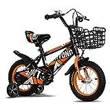 FUFU Bicicletas de los niños, 12-18 Pulgadas for niños y niñas de 2-13, con Ruedas auxiliares, Naranja (Size : 18in)