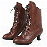 GJHYJK Botas Martin De Cuero para Mujer Botas De Tubo Corto con Remaches Y Cordones Antideslizantes Cremallera Lateral para Mujer Elegantes Zapatos De Fiesta De Otoño,Brown-42