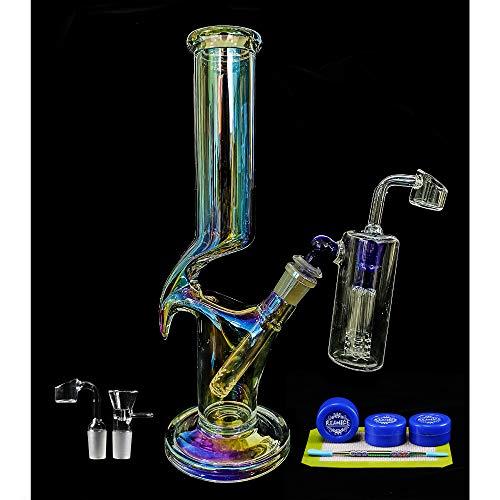 REANICE Bong Glas 14mm Hookah Percolator Wasser Vorkühler Überzug 30cm Alien Wasserpfeife Chillum Bongs