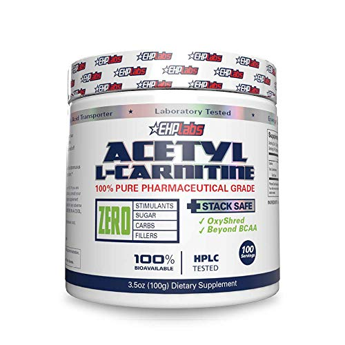 Acetyl L-Carnitine by EHPlabs - Weight Loss Support, Helps Boost Energy Production, Memory & Focus, Non-GMO, Vegan, Gluten Free - 100 Serves