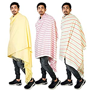 Riyashree men's cotton all weather plain stole shawl for winter and summer (52″ * 94″) combo (Pack of 3) MS 01 02 03