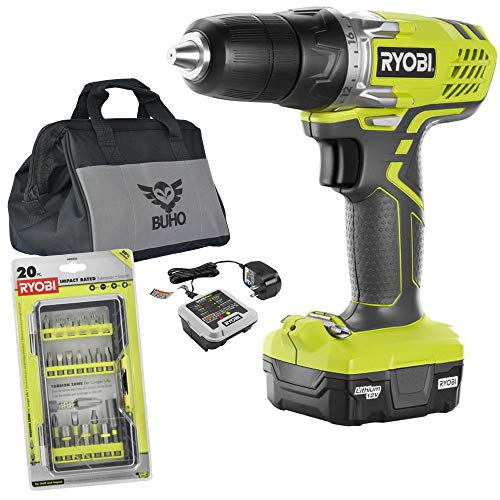 Ryobi 12-Volt Drill Bundle, 12-Volt Lithium-Ion Cordless 3/8 in. Drill/Driver Kit with 12-Volt Battery, Charger, Drill Bit Set and 15 Inch Buho Tool Bag