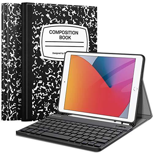 Fintie Tastatur Hülle für iPad 10.2 Zoll (8. und 7. Generation - 2020/2019), Soft TPU Rückseite Gehäuse Schutzhülle mit Pencil Halter, magnetisch Abnehmbarer Tastatur mit QWERTZ Layout, Notizblock