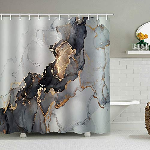 natu2eco White Boho Shower Curtains for Bathroom Fabric with 12 Hooks Luxury Abstract Fluid Art Painting Background Ink Technique Black and Gold Machine Washable Digital Printing Decor 72x72 inches