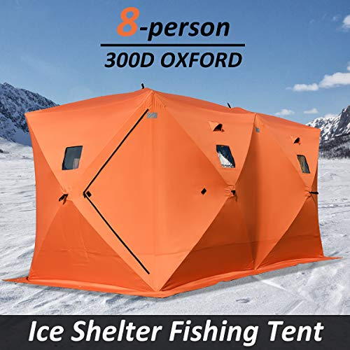 COSTWAY Pop Up Tent with Carry Bag and Detachable Windows, Frost Resistant Waterproof Winter Ice Fishing Dome House, Portable Outdoor Camping Hiking Shelter Tents (8-Person Orange)