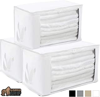 Gorilla Grip Premium Foldable Fabric Storage Bag, 22x13 Inch Bags, Water Resistant, Durable Handles, Zippered Lids, Under Bed Deep Storage Bin for Storing Clothes, Blankets, Shoes, 3 Pack White
