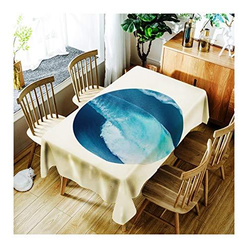 ZHAOXIANGXIANG Décoration D'Intérieur Nappe Impression Et Élégant Motif Mer Belle Table Mat Lavable Tailles Diverses,90Cm×130Cm